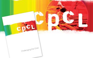 Brochure cover and enlarged view of artwork for The Children's Playground Company.