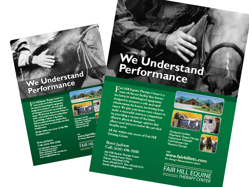 Sample advertising material for Fair Hill Equine Therapy Center.