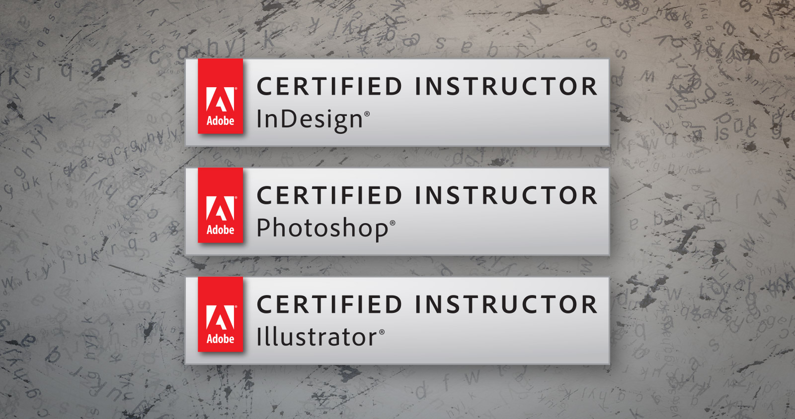 Adobe Certified Instructor (ACI) badges.